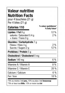 charte valeur nutritive tomate-kale